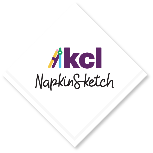 The KCL NapkinSketch logo on a napkin representing the ability to use KCL to design commercial kitchens anywhere.
