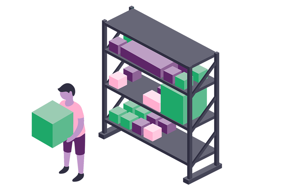 An illustration showing a foodservice design professional pulling CAD and Revit objects from a shelf to use in KCL.
