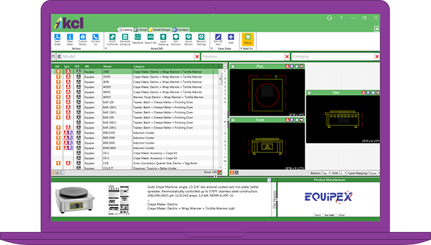 A screenshot of the KCL design software on a laptop.